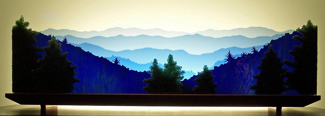 The Great Smoky Mountains Glasscape Fine Glass Art
